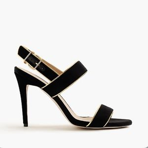 NWOT J.Crew Piped Velvet Double-Strap Sandals/Heel